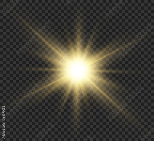 Obraz Yellow glowing light burst explosion with transparent. Vector illustration for cool effect decoration with ray sparkles. Bright star. Transparent shine gradient glitter, bright flare. Glare texture. - fototapety do salonu