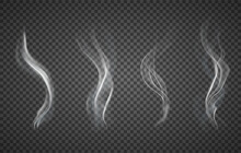 Assorted Realistic Plumes Of Smoke On A Transparent Background For Design Elements, Vector Illustration