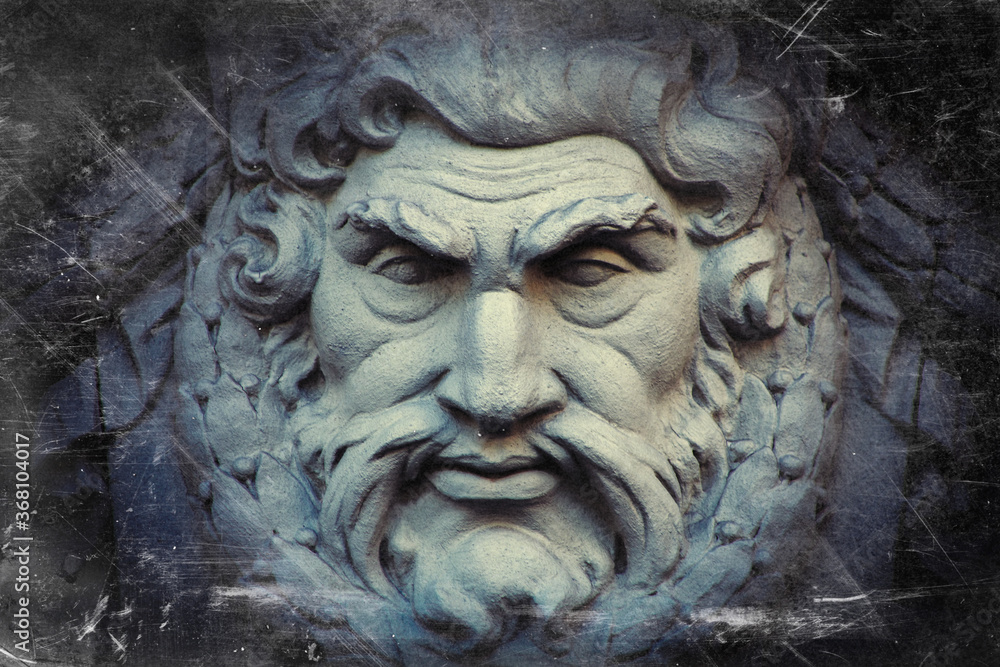 Fototapeta Zeus.  The king of the gods the ruler of mount Olympus and the god of the sky and thunder. Retro styled image.