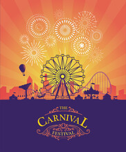 Vector Background Of Amusement Park. Poster Design Invitation Of The Carnival Funfair And Amusement With Sunset. Ferris Wheel, Roller Coaster And Carousel Festive Parks Attractions.