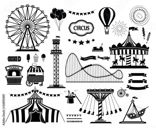 Set of silhouette icons of circus, amusement park Fototapeta