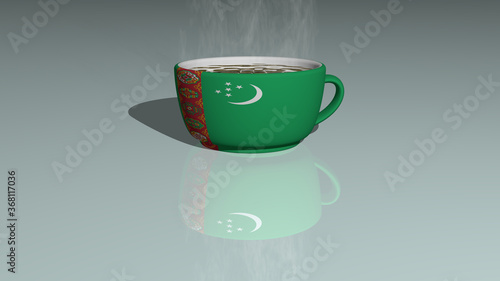 TURKMENISTAN placed on a cup of hot coffee in a 3D illustration mirrored on the Wallpaper Mural