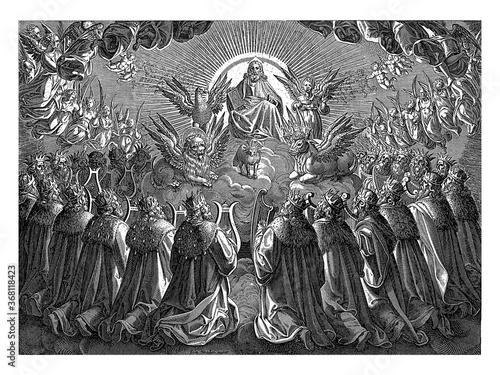 Adoration of God and the Lamb, vintage illustration. Canvas Print