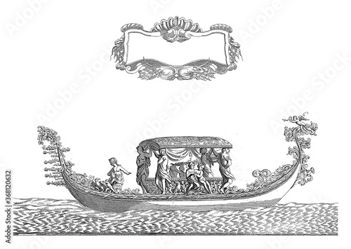 Fotografía Gondola with Allegorical Figures, Antonio Francesco Lucini, 1679, vintage illustration