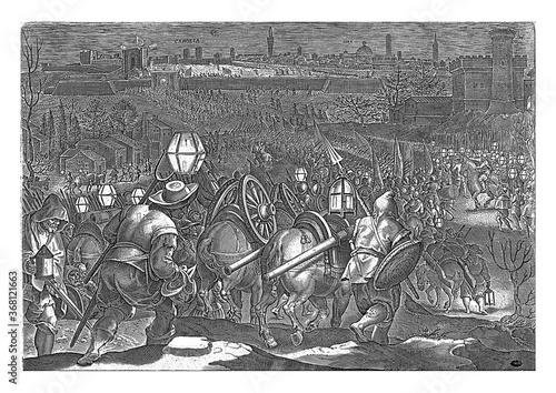 Fotografie, Obraz Siege of Camollia and Siena, Philips Galle, after Jan van der Straet, 1583, vintage illustration