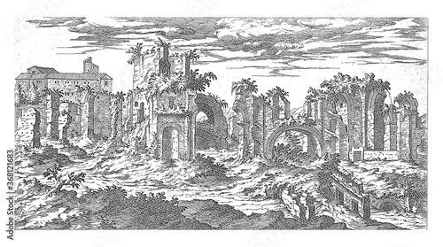 Fototapeta Ruins of the Baths of Titus in Rome, vintage illustration. obraz