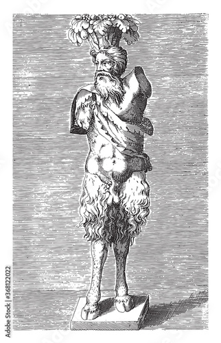 Sculpture of a satyr, anonymous, 1584, vintage illustration. Canvas Print