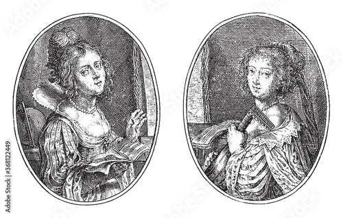 Erato and Terpsichore, Crispijn van de Passe (II), 1640, vintage illustration Wallpaper Mural