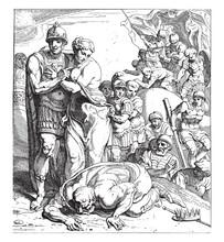 Return Of Agamemnon And Cassandra To Mycenae, Vintage Illustration.
