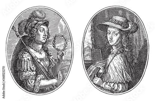 Photo Minerva and Clio, Cris Pain van de Passe (II), 1640, vintage illustration