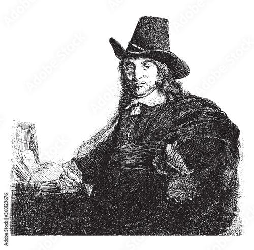 Fotografia Portrait of the painter Jan Asselijn, Rembrandt van Rijn, 1807 - 1808, vintage illustration