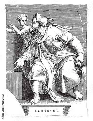фотография Prophet Ezekiel, Adamo Scultori, after Michelangelo, 1585, vintage illustration