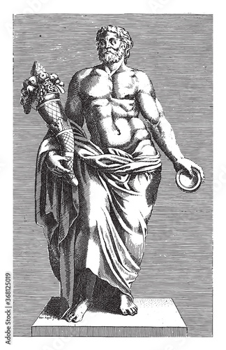 Obraz na plátně Sculpture of a man with a cornucopia, anonymous, 1584, vintage illustration