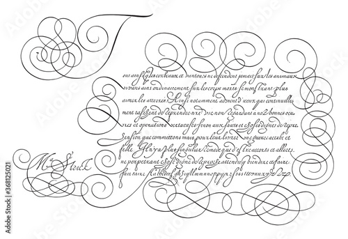 Fotografie, Obraz Writing example with capital T, vintage illustration.