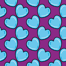 Blue Hearts ,seamless Pattern On Purple Background.