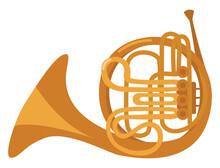 French Horn Instrument, Illustration, Vector On White Background