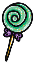 Green Lollipop, Illustration, Vector On White Background