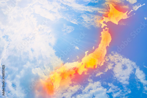 日本の夏、猛暑、酷暑、異常気象/温暖化/天気予報のイメージ画像画像 青空背景 Canvas-taulu