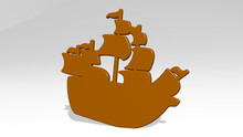 Pirate Ship Stand With Shadow. 3D Illustration Of Metallic Sculpture Over A White Background With Mild Texture. Cartoon And Character