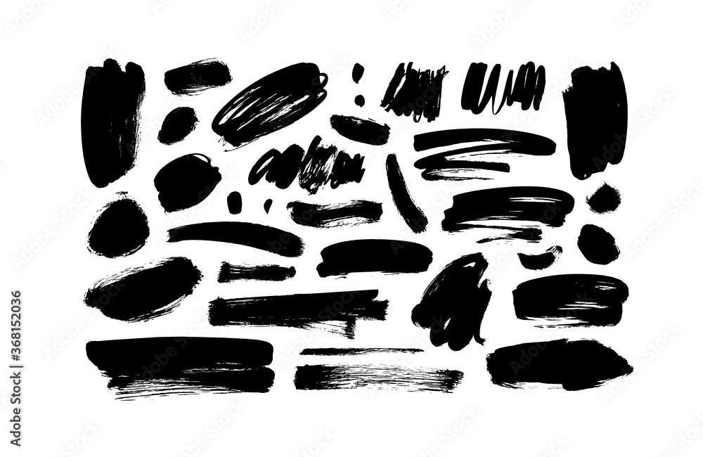 Fototapeta Vector black paint, ink line brushstrokes. Dirty grunge design brush strokes or background for text. Grungy black smears and rough stains, circles. Hand drawn ink illustration isolated on white