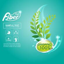 Fiber In Foods Slim Shape And Vitamin Concept Label Vector