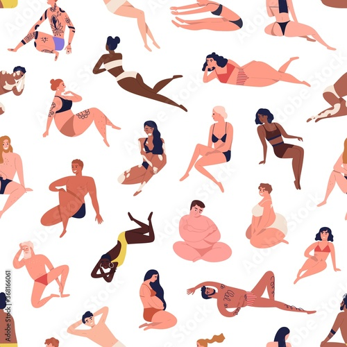Different figure, multiracial body positive people in beachwear. Pregnant, tattoo, dark skin, fat men, women. Seamless,  endless pattern. Flat cartoon vector illustration isolated on white background