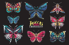 Set Of Embroidery Butterflies ...