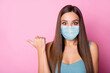 canvas print picture - Close-up portrait of her she nice-looking attractive lovely amazed long-haired girl wearing safety mask demonstrating copy space stop influenza mers cov prevention isolated pink color background