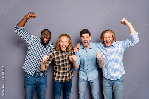 Portrait of four nice attractive glad ecstatic overjoyed cheerful cheery guys ce Wallpaper Mural