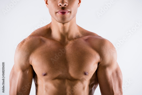 Obraz Closeup cropped photo of handsome serious concentrated muscular sportsman dark skin guy demonstrating his perfect ideal body constitution naked chest isolated white color background - fototapety do salonu
