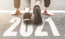 Sneakers Close-up, Finish 2020. Start To New Year 2021 Plans, Goals, Objectives