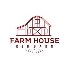 Vintage Retro Wood Barn Farm Minimalist Logo Design With Line Art Style