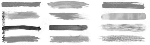 Fototapeta 12 schwarz graue handgemalte Streifen mit Stift oder Pinsel