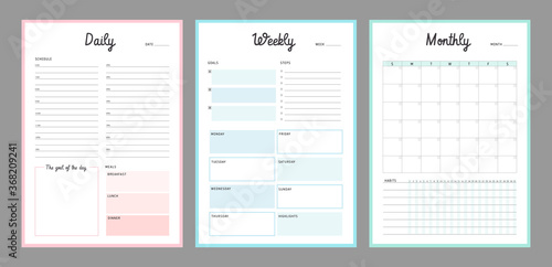 Obraz 3 Set of minimalist planners (color). Daily, weekly, monthly planner template. Simple printable to do list. Business organizer page. Paper sheet. Realistic vector illustration. - fototapety do salonu