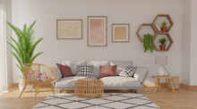 Gray Sofa On Gray Wall Background With Shelves And Pictures On It, 3d Rendering