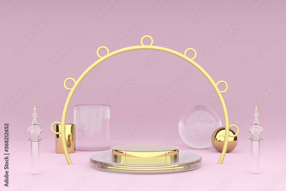 Podium with geometric shapes in pink composition ,Concept 3d illustration or 3d render