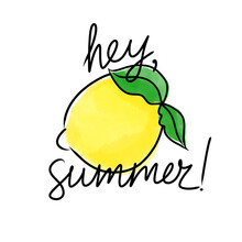 Sketch Yellow Green Lemon With The Words Hey Summer