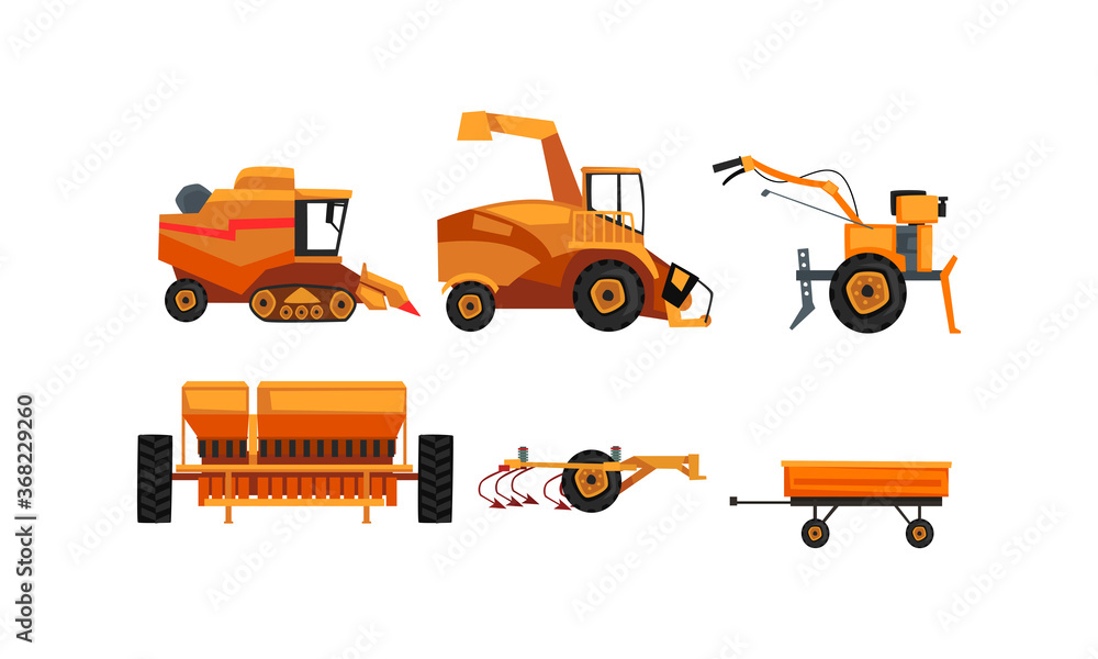 Fototapeta Agricultural Machinery Set, Farm Vehicles for Land Agricultural Processing Flat Style Vector Illustration