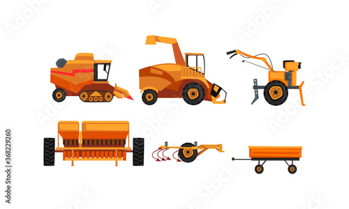 Obraz Agricultural Machinery Set, Farm Vehicles for Land Agricultural Processing Flat Style Vector Illustration - fototapety do salonu