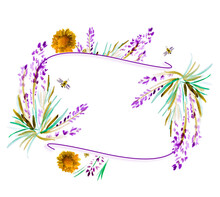 Text Border Decorated With  Hand Drawn Lavenders, Bees. Watercolor