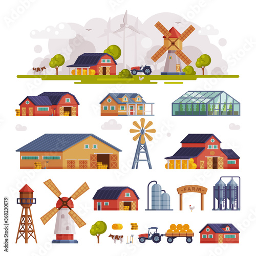 Obraz Rural Buildings and Agricultural Objects Set, Summer Farm Scene with Red Barn and Windmill, Agriculture and Farming Concept Cartoon Vector Illustration - fototapety do salonu