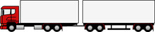 Truck Towing A Trailer - Truck And Trailer Truck - Trailer - Shape - Silhouette - European Truck - Cargo - Vector - Profile - Truck - Delivery - Red - Dog Trailer - Double Trailer