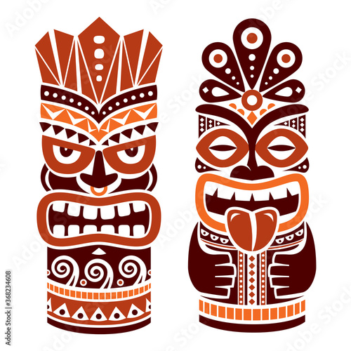 Fotografiet Tiki pole totem vector design in brown - traditional statue decor set from Polyn