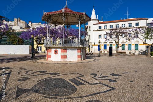 jacaranda tree and bandstand in iron gazebo designs in Faro, Algarve, Portugal Canvas Print