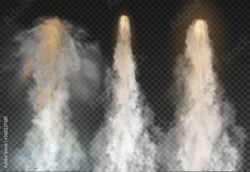 Obraz na plátne Space rocket bomb Smoke isolated on transparent background