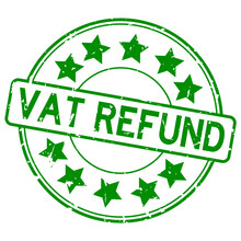 Grunge Green Vat Refund Word With Star Icon Rubber Seal Stamp On White Background