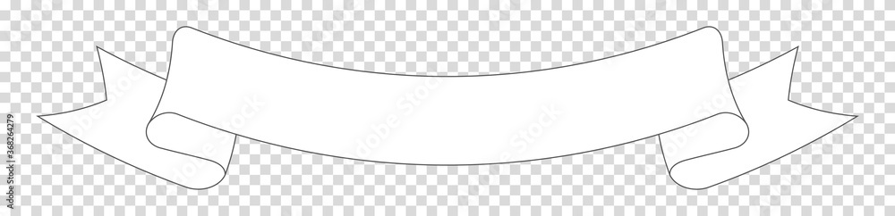 Fototapeta white ribbon banner label on transparent background