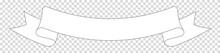 White Ribbon Banner Label On Transparent Background