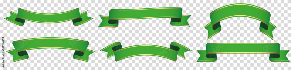 Fototapeta set of green ribbon banner label on transparent background