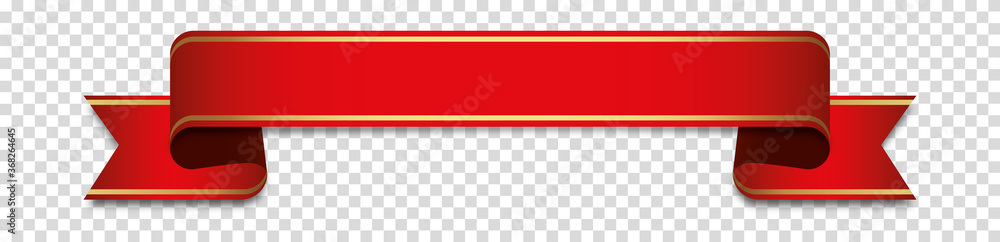 Fototapeta red ribbon banner label on transparent background